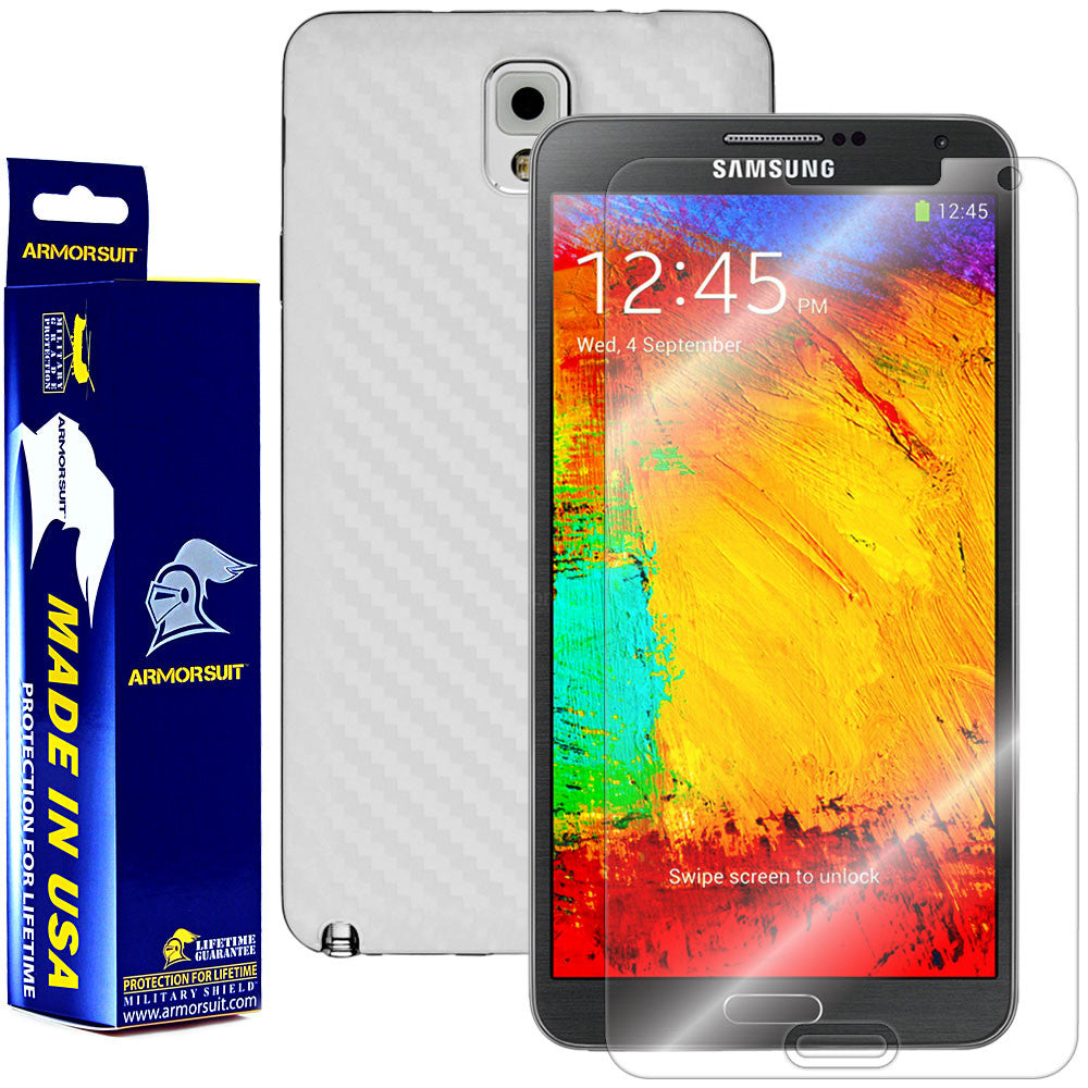 Samsung Galaxy Note 3 Screen Protector + White Carbon Fiber Skin Protector