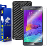 Samsung Galaxy Note 4 Screen Protector + Black Carbon Fiber Skin