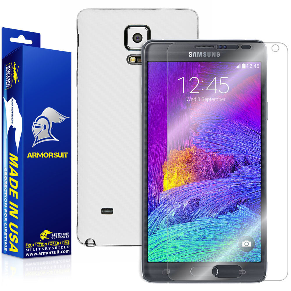 Samsung Galaxy Note 4 Screen Protector + White Carbon Fiber Skin