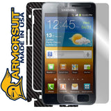 Samsung Galaxy S2/SII (International) Screen Protector + Black Carbon Fiber Skin Protector