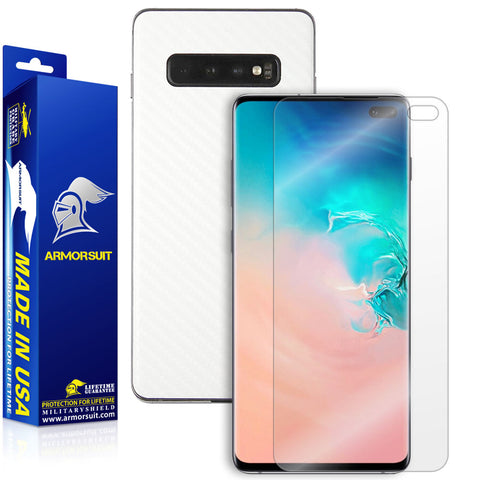 Samsung Galaxy S10 Plus White Carbon Fiber Skin Protector