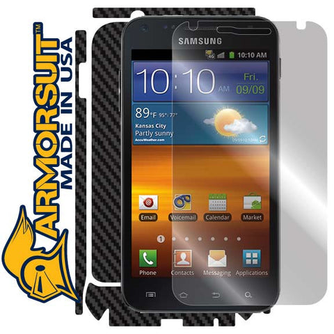 Samsung Epic 4G Touch Screen Protector + Black Carbon Fiber Skin Protector