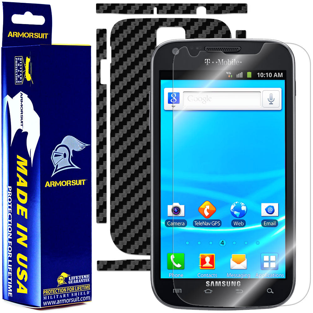 Samsung Galaxy S2/SII T-Mobile Screen Protector + Black Carbon Fiber Skin Protector