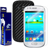 Samsung Galaxy S3 Mini Screen Protector + Black Carbon Fiber Film Protector
