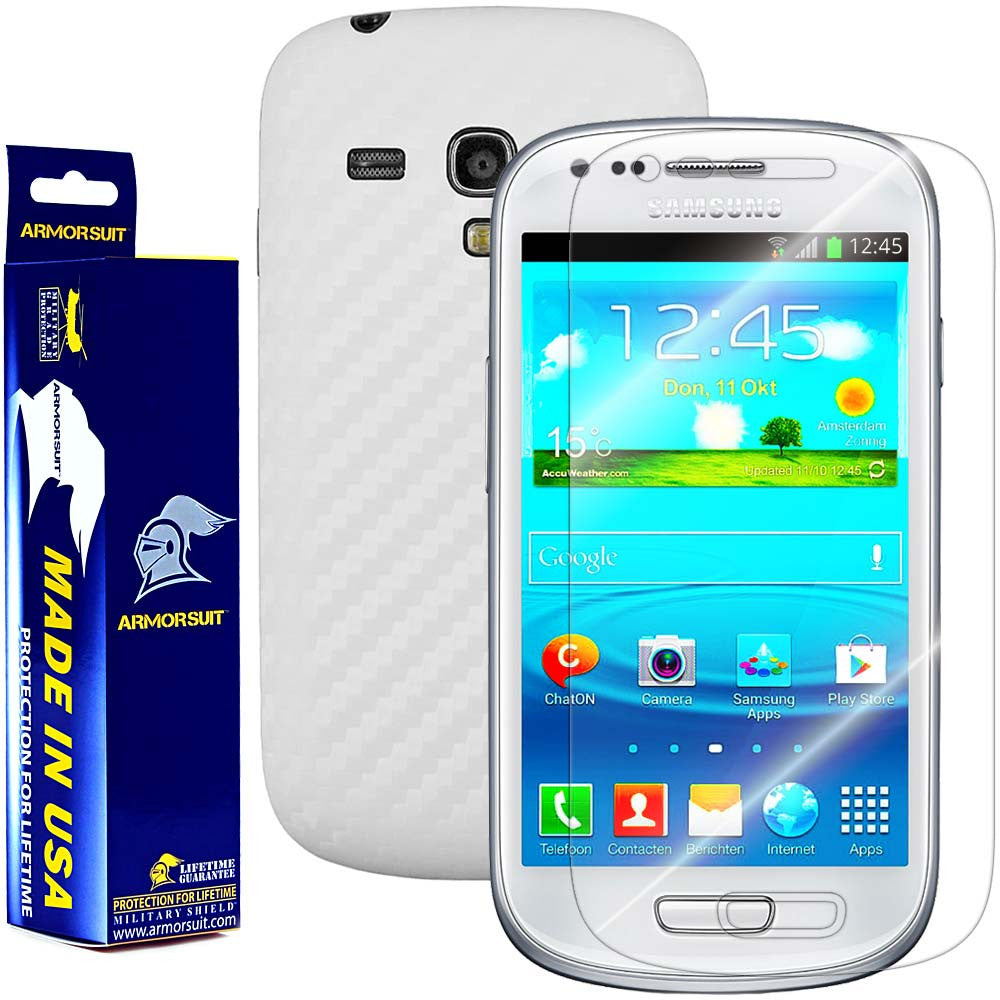 Samsung Galaxy S3 Mini Screen Protector + White Carbon Fiber Film Protector