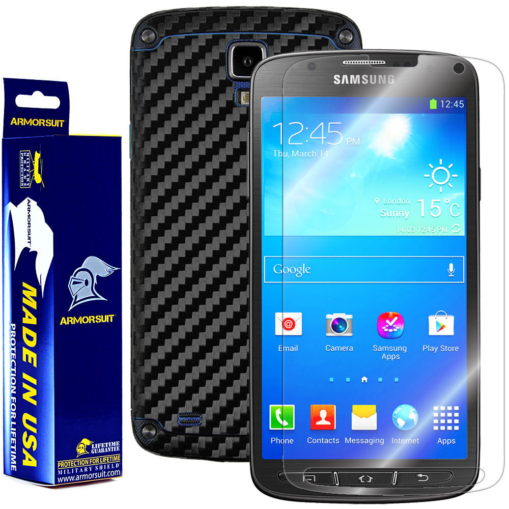 samsung galaxy s4 phone black. samsung galaxy s4 active screen protector + black carbon fiber film phone o
