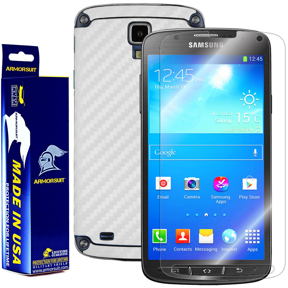 Samsung Galaxy S4 Active Screen Protector + White Carbon Fiber Film Protector