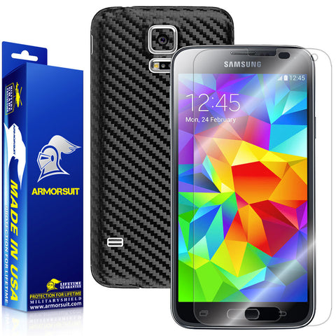 Samsung Galaxy S5 Screen Protector + Black Carbon Fiber Film Protector