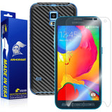 Samsung Galaxy S5 Sport Screen Protector + Black Carbon Fiber Skin Protector
