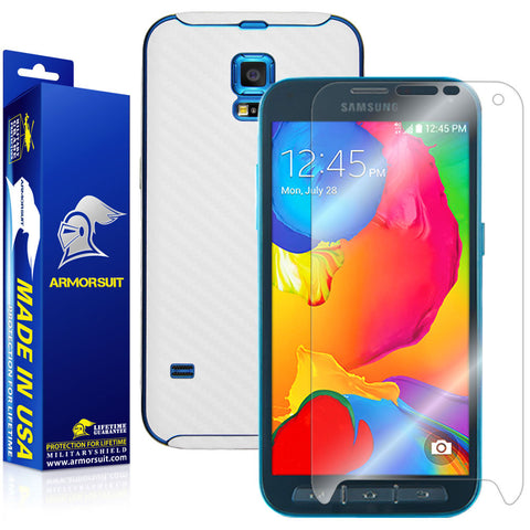 Samsung Galaxy S5 Sport Screen Protector + White Carbon Fiber Skin Protector