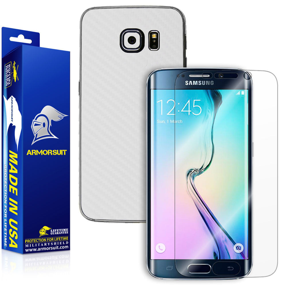 Samsung Galaxy S6 Edge Screen Protector [Full Screen Coverage] + White Carbon Fiber Skin
