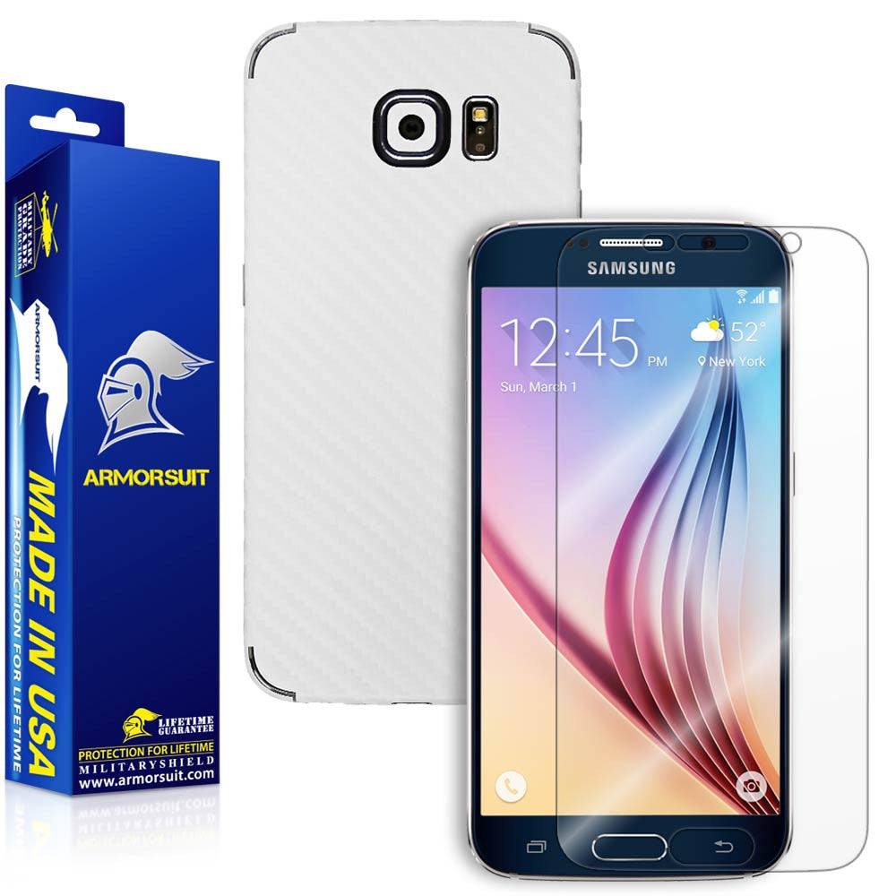 Samsung Galaxy S6 Screen Protector + White Carbon Fiber Film Protector