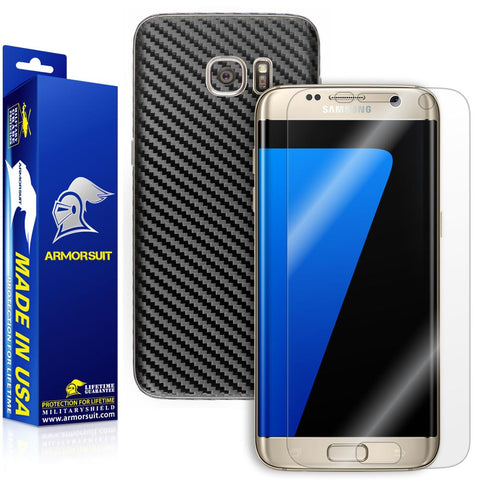 Samsung Galaxy S7 Edge Screen Protector [Full Screen Coverage] + Black Carbon Fiber Skin