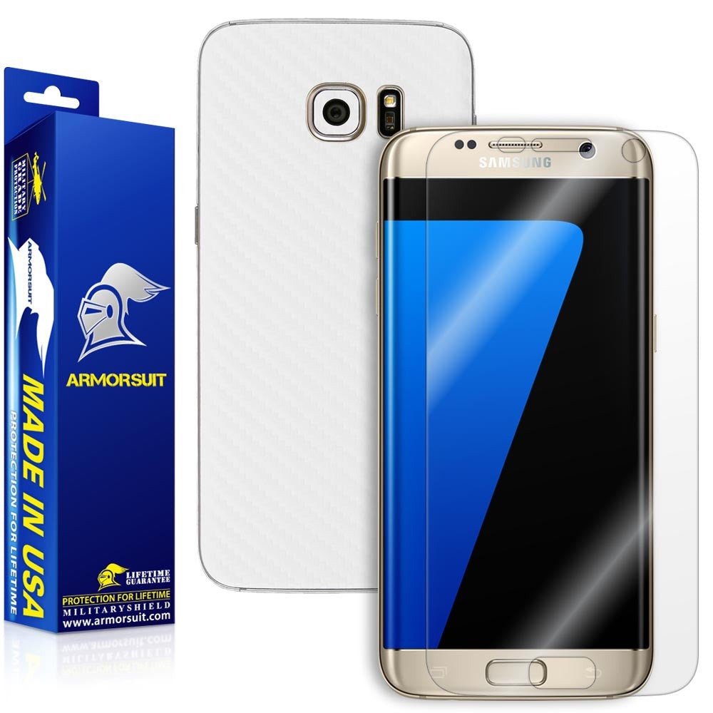 Samsung Galaxy S7 Edge Plus Screen Protector [Full Screen Coverage] + White Carbon Fiber Skin