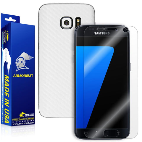 Samsung Galaxy S7 Screen Protector + White Carbon Fiber Film Protector
