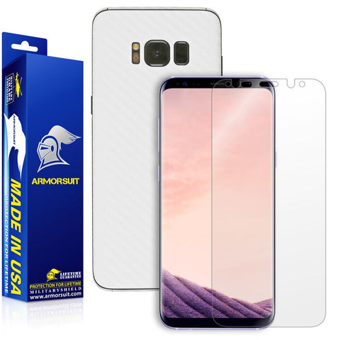 Samsung Galaxy S8 Plus White Carbon Fiber Skin Protector