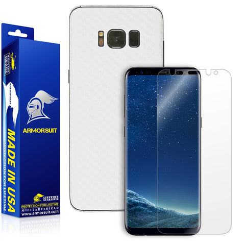 Samsung Galaxy S8 White Carbon Fiber Skin Protector