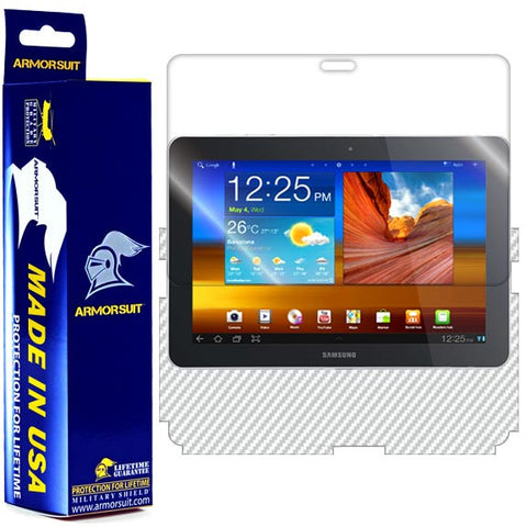 Samsung Galaxy Tab 10.1 Screen Protector + White Carbon Fiber Skin Protector