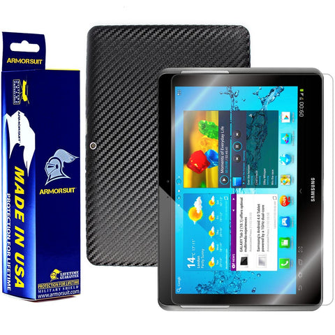 Samsung Galaxy Tab 2 10.1 Screen Protector + Black Carbon Fiber Film Protector