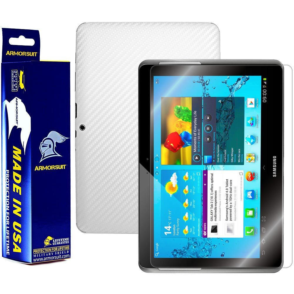 Samsung Galaxy Tab 2 10.1 Screen Protector + White Carbon Fiber Film Protector