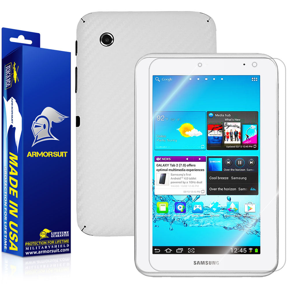 Samsung Galaxy Tab 2 7.0 Screen Protector + White Carbon Fiber Skin Protector