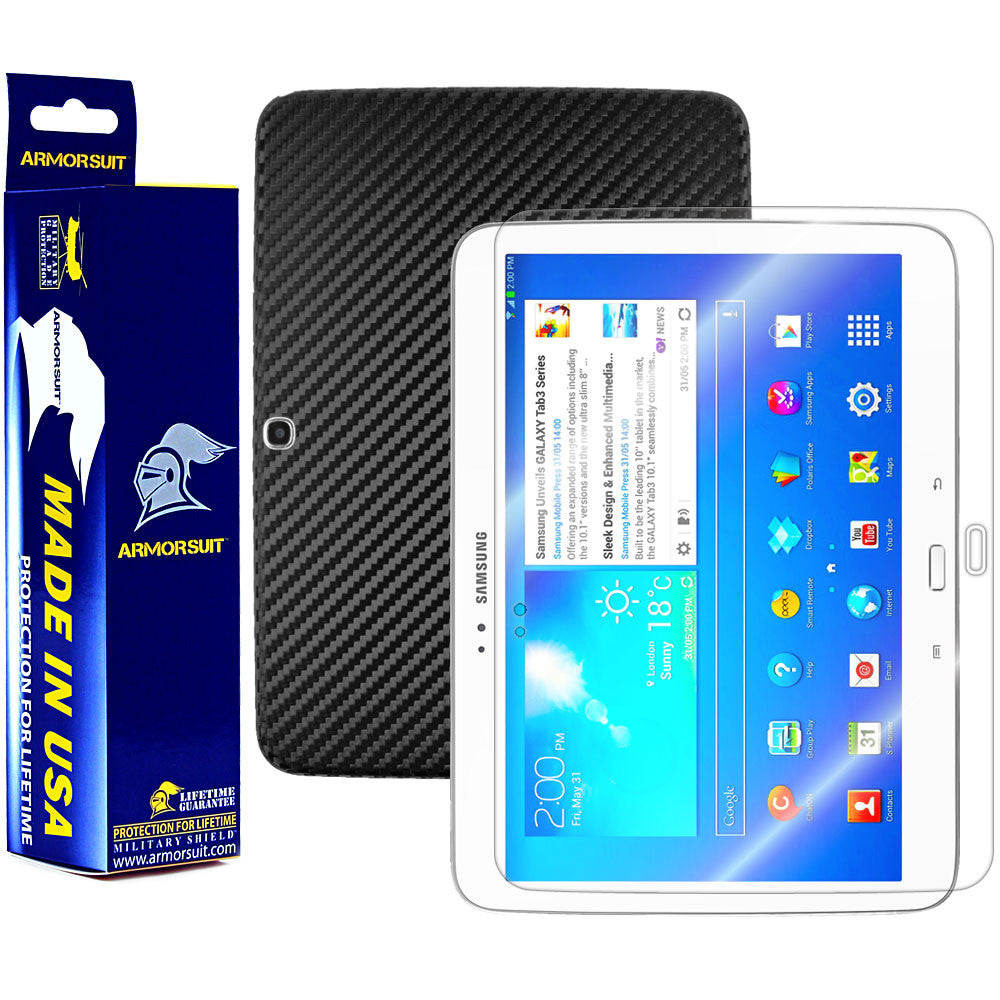 Samsung Galaxy Tab 3 10.1 Screen Protector+ Black Carbon Fiber Film Protector
