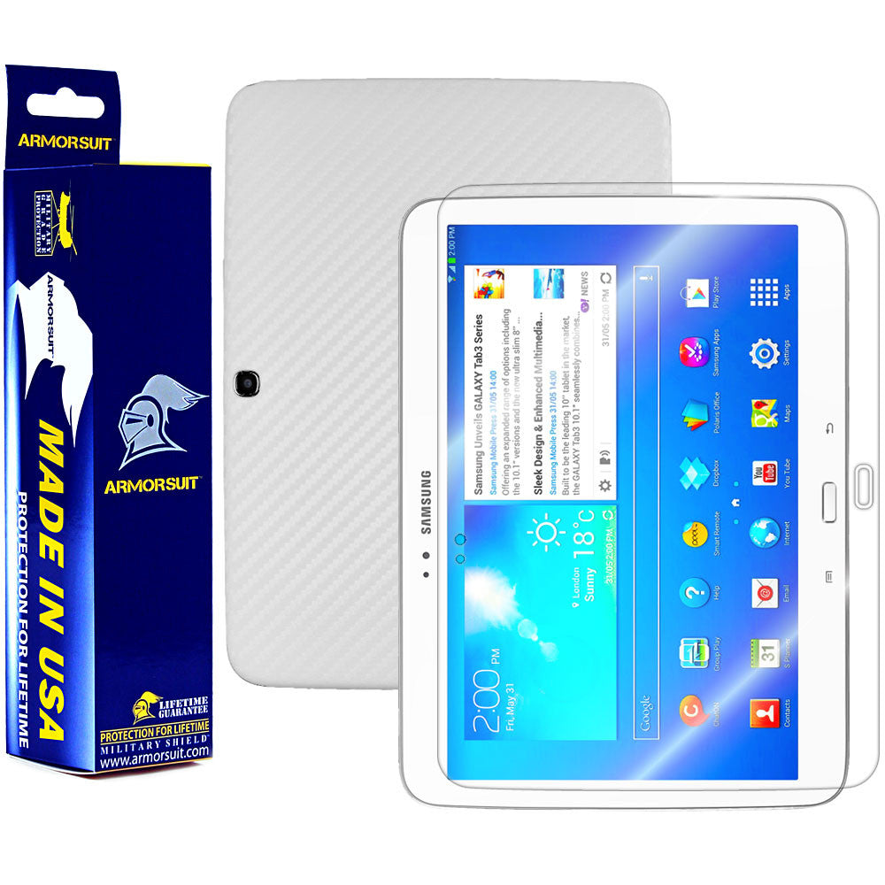 Samsung Galaxy Tab 3 10.1 Screen Protector+ White Carbon Fiber Film Protector