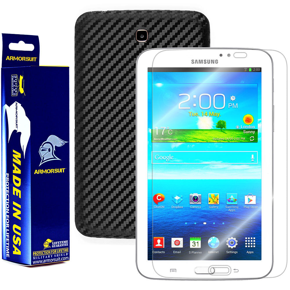 Samsung Galaxy Tab 3 7.0 Screen Protector + Black Carbon Fiber Film Protector