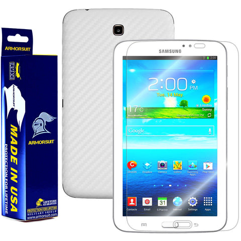 Samsung Galaxy Tab 3 7.0 Screen Protector + White Carbon Fiber Film Protector