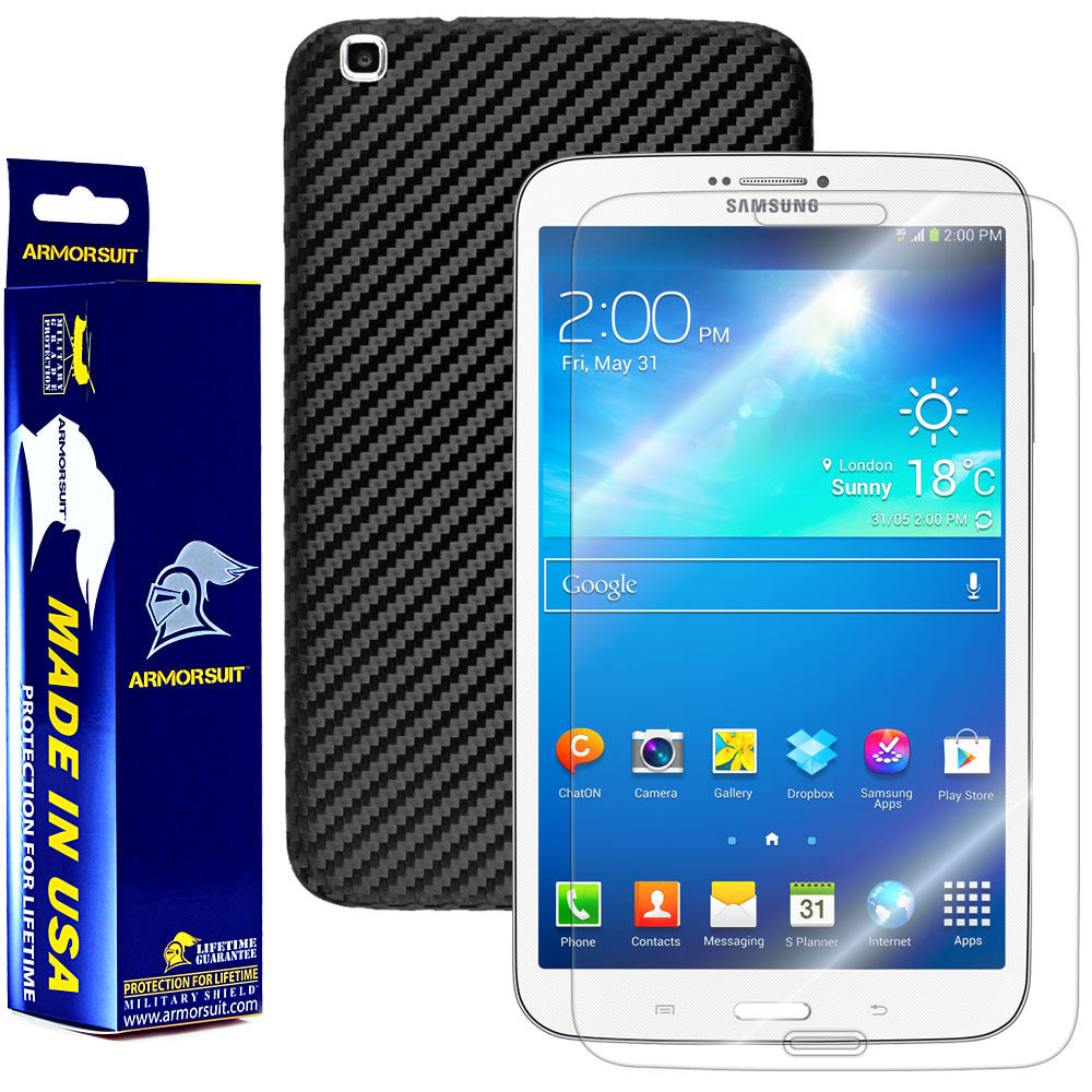 Samsung Galaxy Tab 3 8.0 (WIFI/3G/4G) International Version Screen Protector + Black Carbon Fiber Film Protector