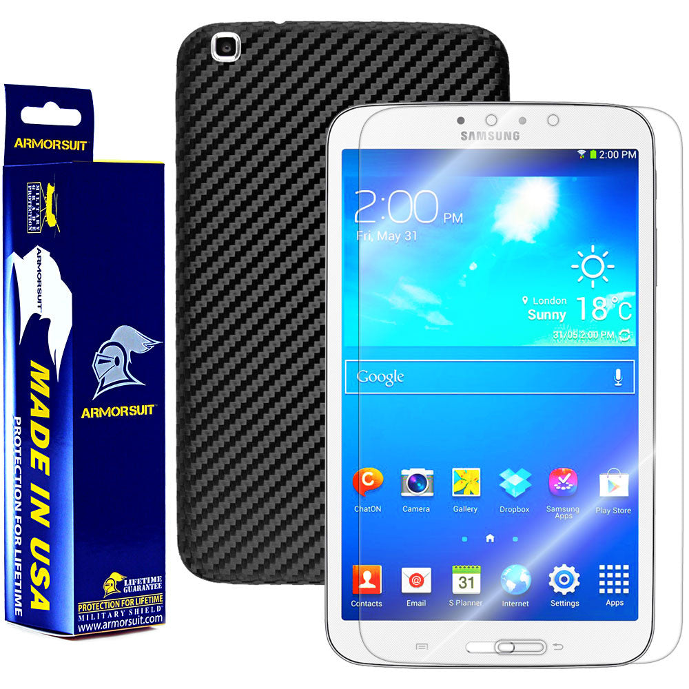 Samsung Galaxy Tab 3 8.0 (Wifi Only) Screen Protector + Black Carbon Fiber Film Protector