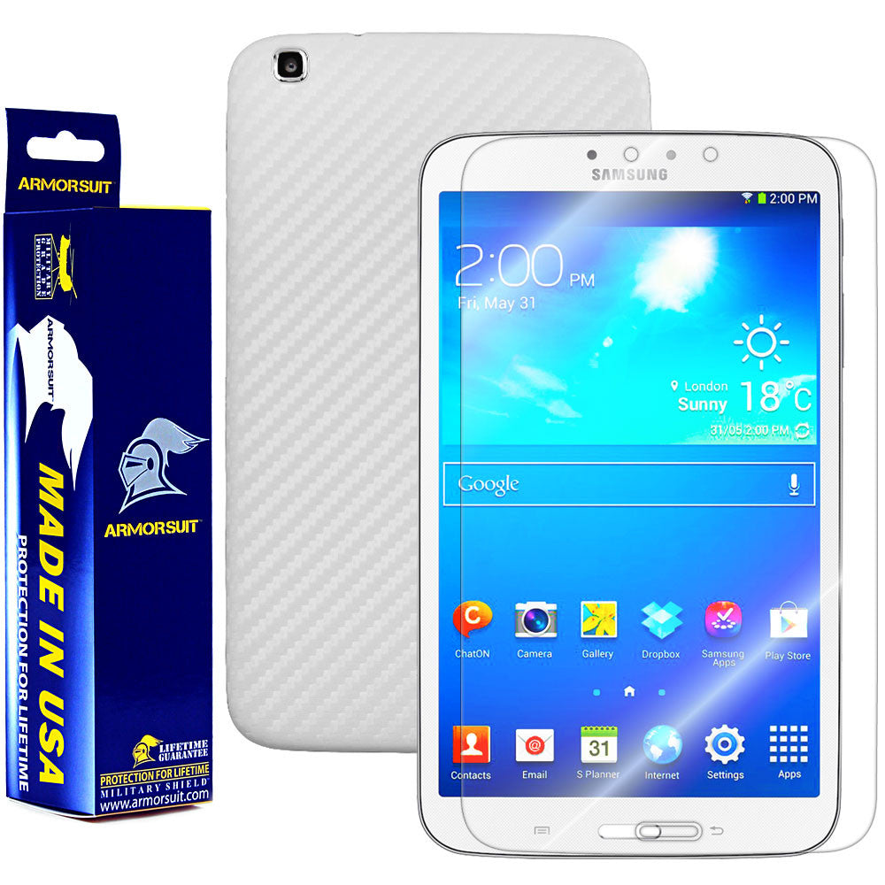 Samsung Galaxy Tab 3 8.0 (Wifi Only) Screen Protector + White Carbon Fiber Film Protector