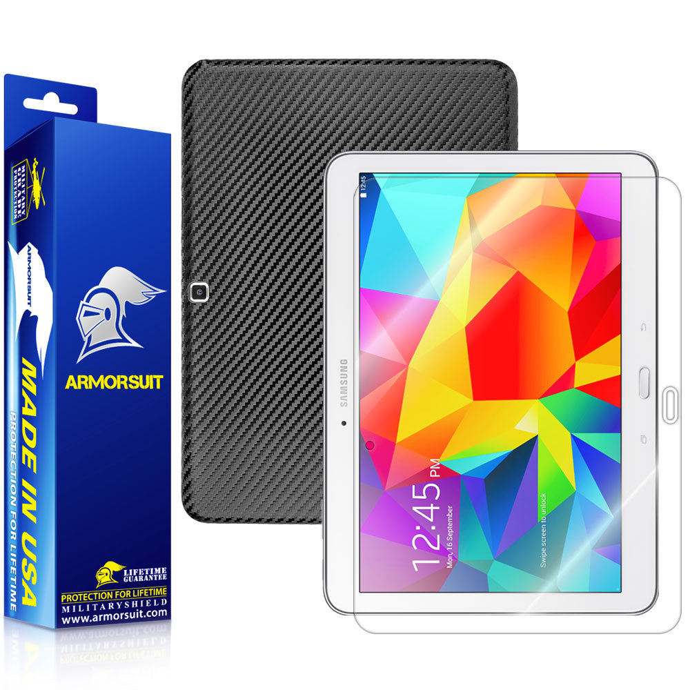 Samsung Galaxy Tab 4 10.1 Screen Protector + Black Carbon Fiber Film Protector