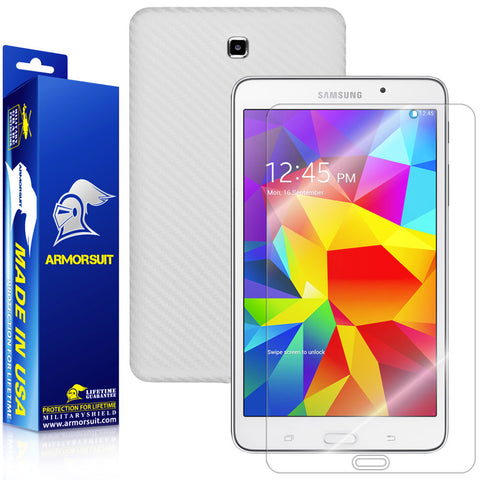 Samsung Galaxy Tab 4 7.0 Screen Protector + White Carbon Fiber Film Protector