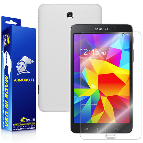 Samsung Galaxy Tab 4 8.0 Screen Protector + White Carbon Fiber Film Protector