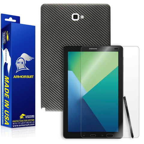 Samsung Galaxy Tab 10.1 (2016) [WITH S PEN] Screen Protector + Black Carbon Fiber Skin