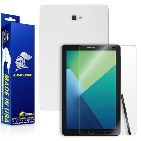Samsung Galaxy Tab 10.1 (2016) [WITH S PEN] Screen Protector + White Carbon Fiber Skin