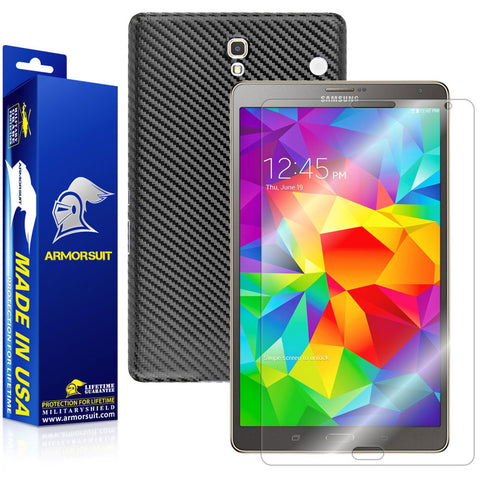 Samsung Galaxy Tab S 8.4 LTE Screen Protector + Black Carbon Fiber Film Protector
