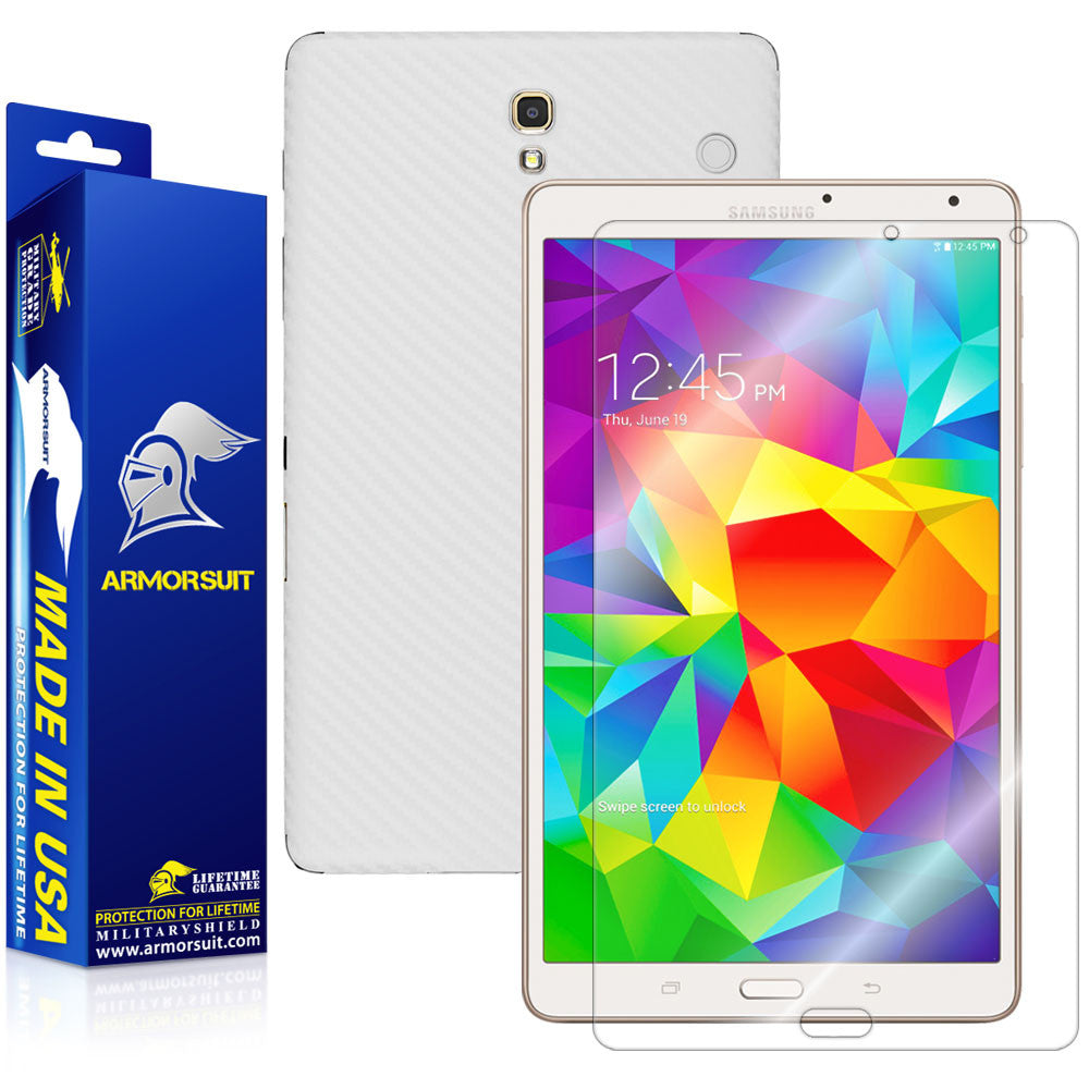 Samsung Galaxy Tab S 8.4 Screen Protector + White Carbon Fiber Film Protector