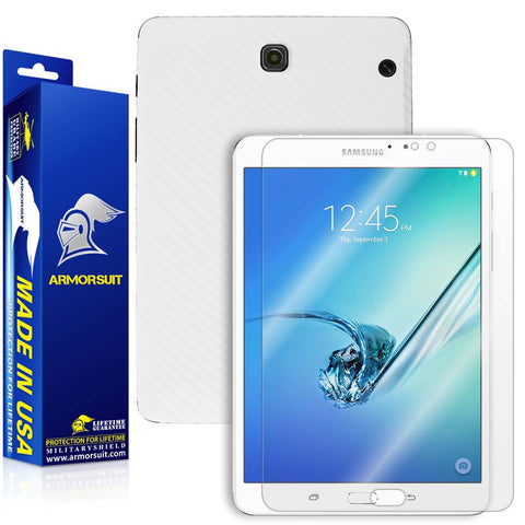 Samsung Galaxy Tab S2 8.0 Screen Protector + White Carbon Fiber Skin