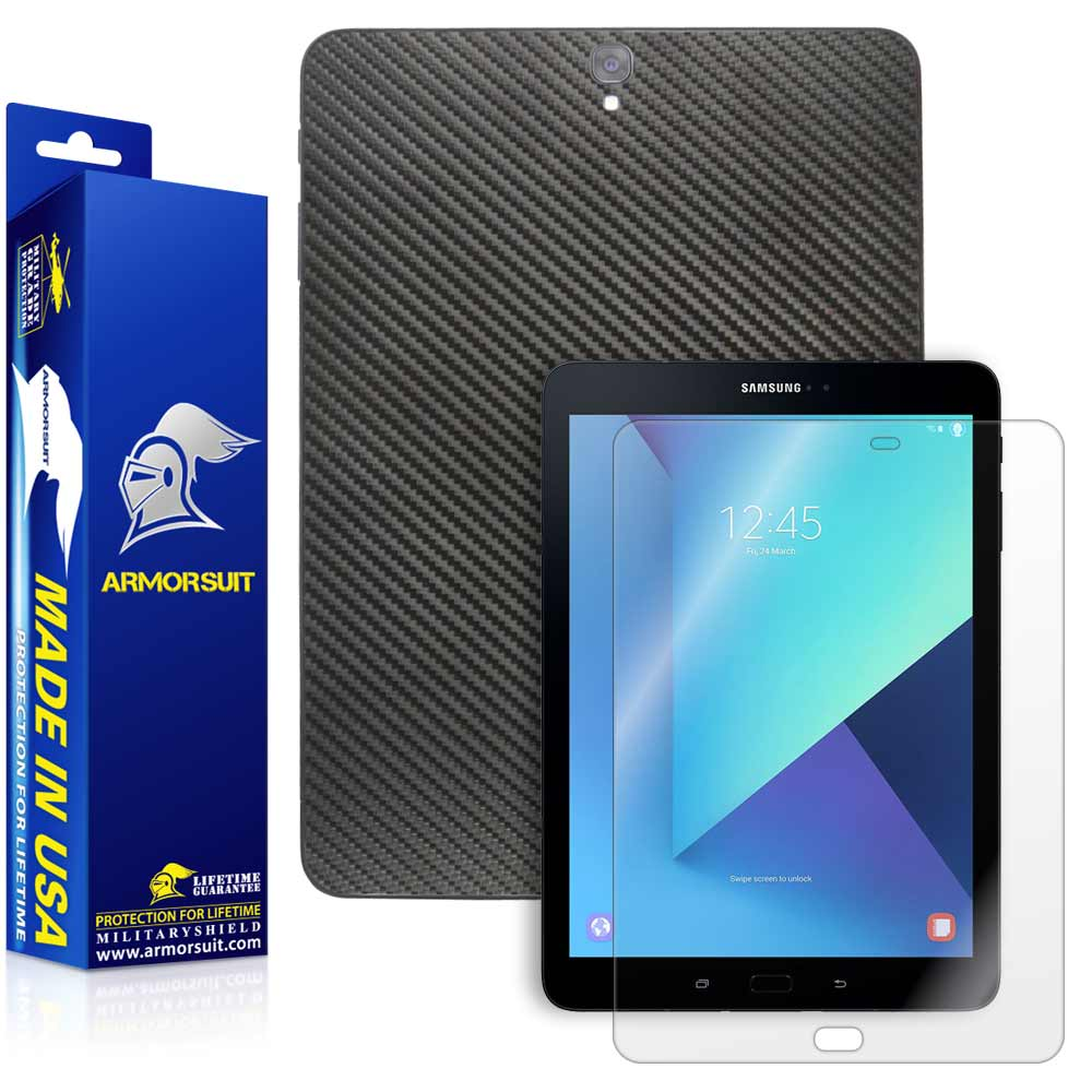 Samsung Galaxy Tab S3 9.7 Screen Protector + Black Carbon Fiber Skin