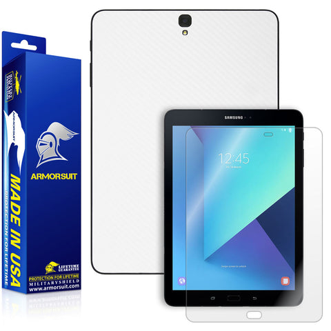 Samsung Galaxy Tab S3 9.7 Screen Protector + White Carbon Fiber Skin
