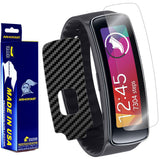 Samsung Gear Fit Screen Protector + Black Carbon Fiber Film Protector