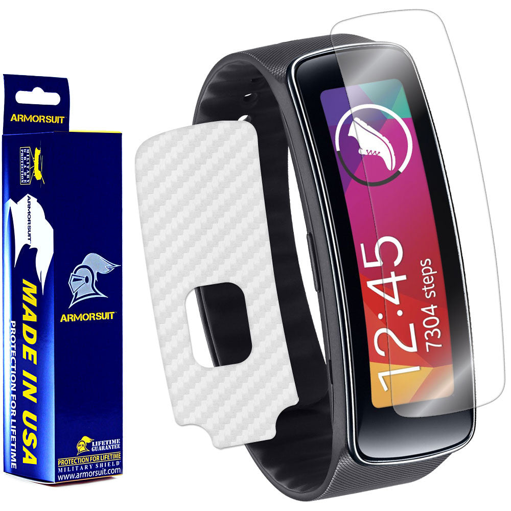 Samsung Gear Fit Screen Protector + White Carbon Fiber Film Protector