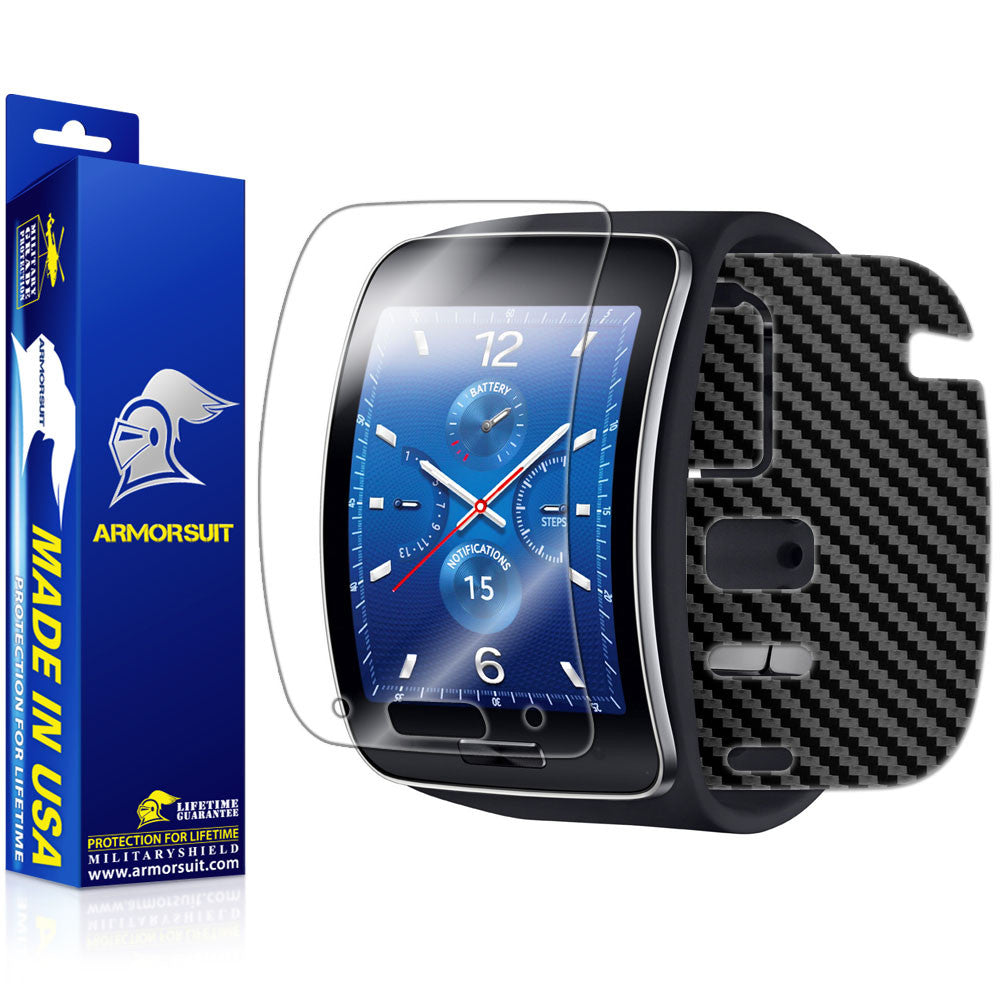 Samsung Gear S Screen Protector + Black Carbon Fiber Skin