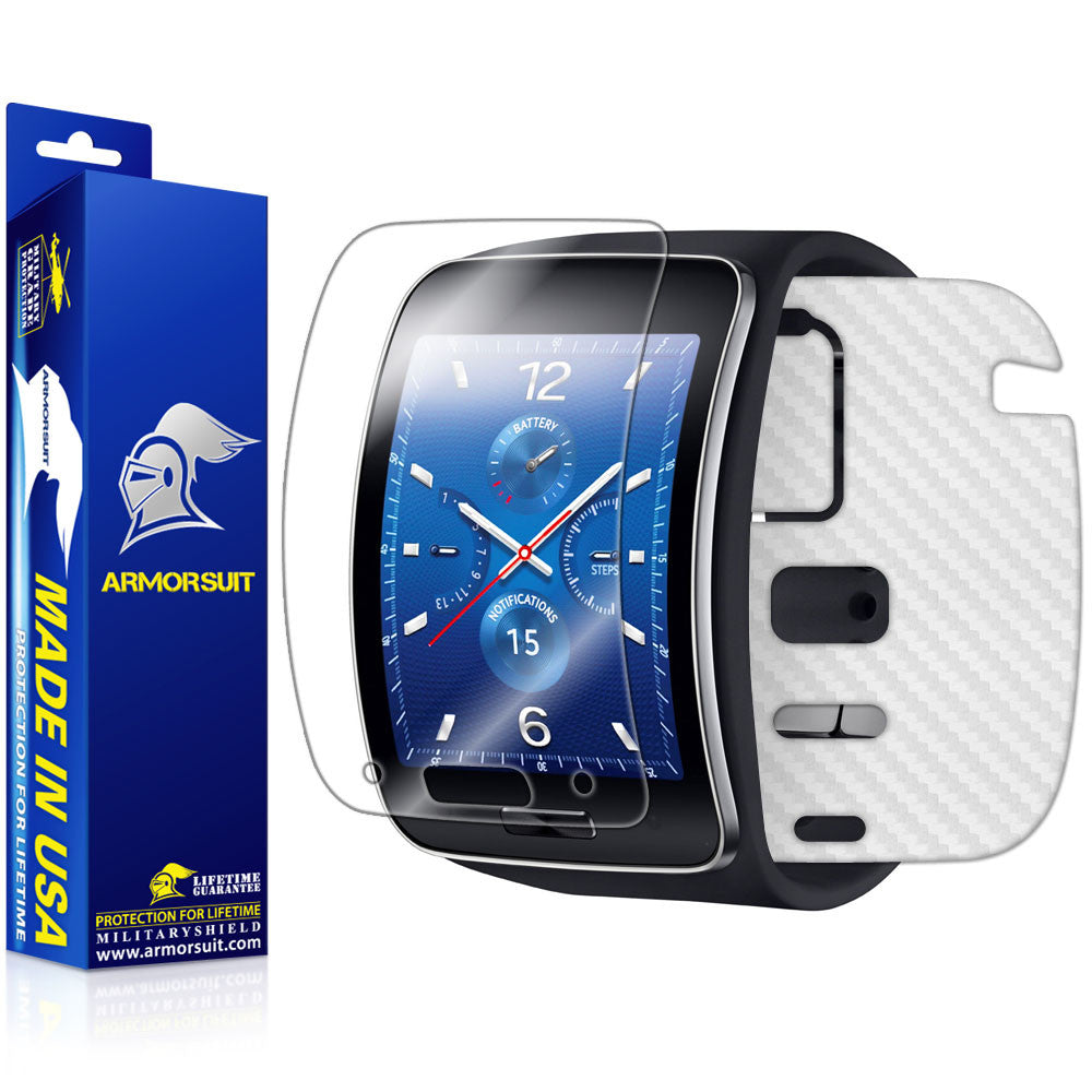 Samsung Gear S Screen Protector + White Carbon Fiber Skin