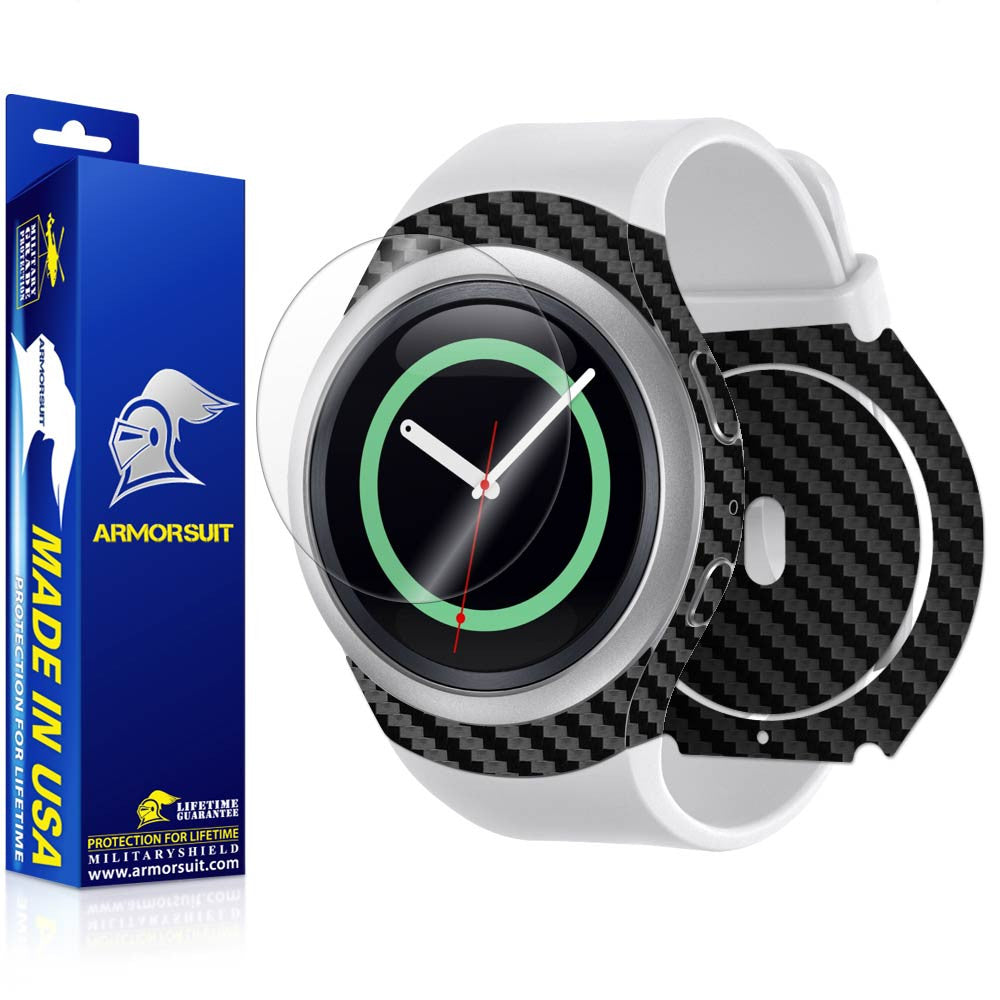 Samsung Gear S2 Screen Protector + Black Carbon Fiber Skin