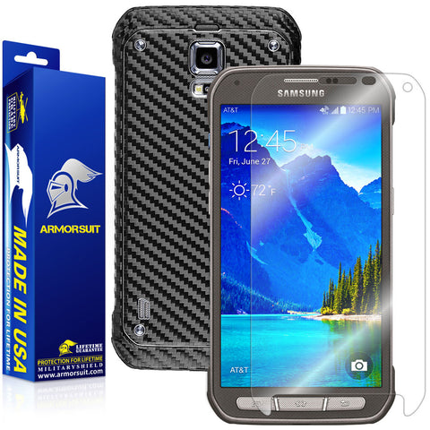 Samsung Galaxy S5 Active Screen Protector + Black Carbon Fiber Film Protector