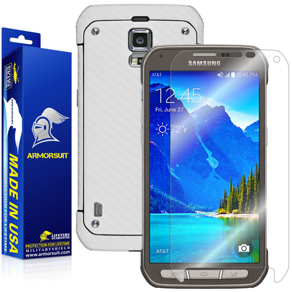 Samsung Galaxy S5 Active Screen Protector + White Carbon Fiber Film Protector