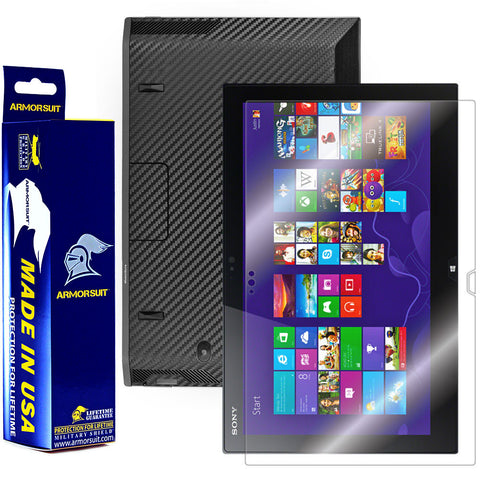 Sony VAIO Duo 13 Convertible Ultrabook Screen Protector + Black Carbon Fiber Film Protector